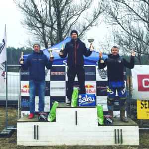 Vasakult: Toomas Triisa (Redmoto Racing) , Martin Leok (Sõmerpalu motoklubi), Ragnar Valdstein (Karksi Racing Team)
